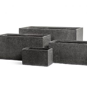 Кашпо TREEZ Effectory – серия Stone – Низкий прямоугольник – Тёмно-серый камень