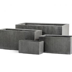 Кашпо TREEZ Effectory – серия Beton – Низкий прямоугольник – Тёмно-серый бетон