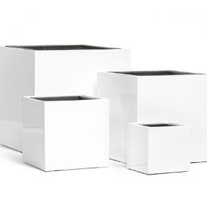 Кашпо TREEZ Effectory – серия Gloss – Куб – Белый глянцевый лак
